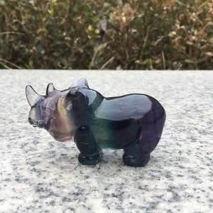 Image 1 - Natural Rainbow fluorite crystal carvings rhinoceros Figurine for Decoration