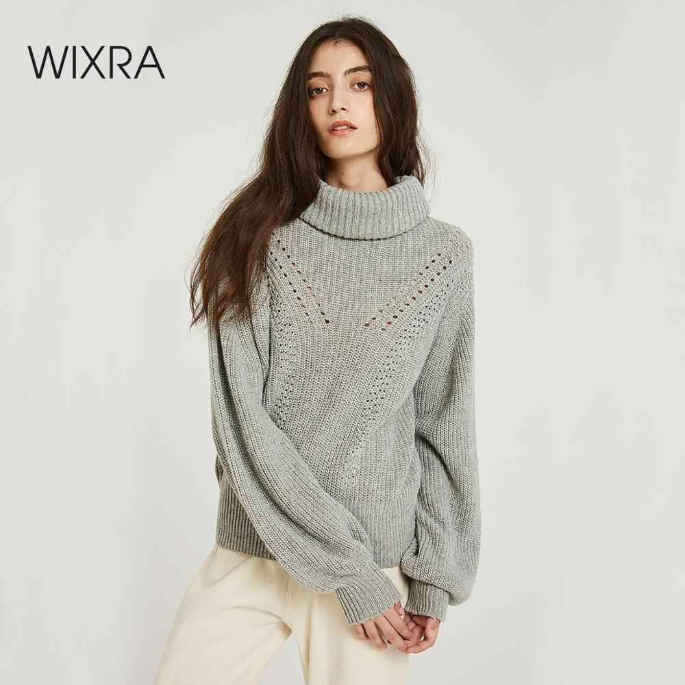 Wixra Oversized Sweaters 2019 Autumn Winter Female Solid Turtleneck Casual Hollow Out Knitted Sweater Pullovers Women's Jumpers