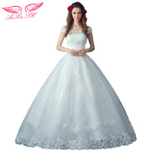AnXin SH flower lace princess boat neck wedding dress shoulder Princess Bride bride bow wedding dress 5956 S