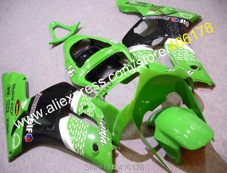 Hot Sales,For Kawasaki Ninja ZX6R 2003 2004 ZX-6R 03 04 ZX 6R 636 Green Motorcycle Parts Body Fairing Kit (Injection molding) black windscreen windshield for kawasaki zx6r zx 6r zx 6r zx636 2003 2004 2003 2004