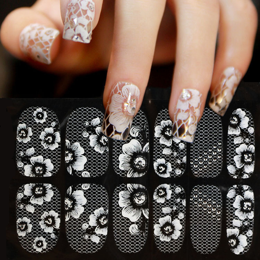 1Sheet 3D Water Decals Nail Art Stickers white lace on Nails of Dandelions Stickers for Nails Sticker Decorations Manicure Z005