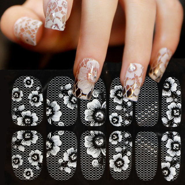 Autocollants décoratifs 3D pour ongles, 1 feuille, autocollants, dentelle blanche, sur les ongles, pissenlits, décorations de manucure, Z005