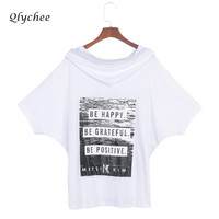 Qlychee Letter Print Hooded T Shirt For Women Loose Batwing Sleeve Streetwear Top Tees Shirt Clothing