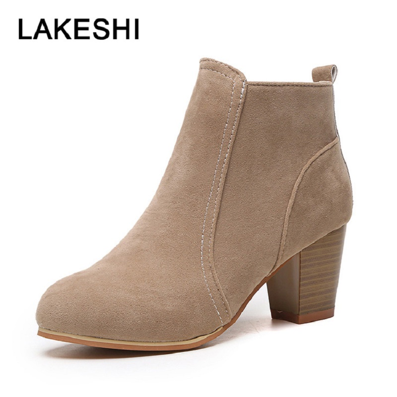 Women Heels Ankle Boots For Women 2018 New Faux Suede Female Boots Autumn  Ladies Shoes Size 9f00841e69ab