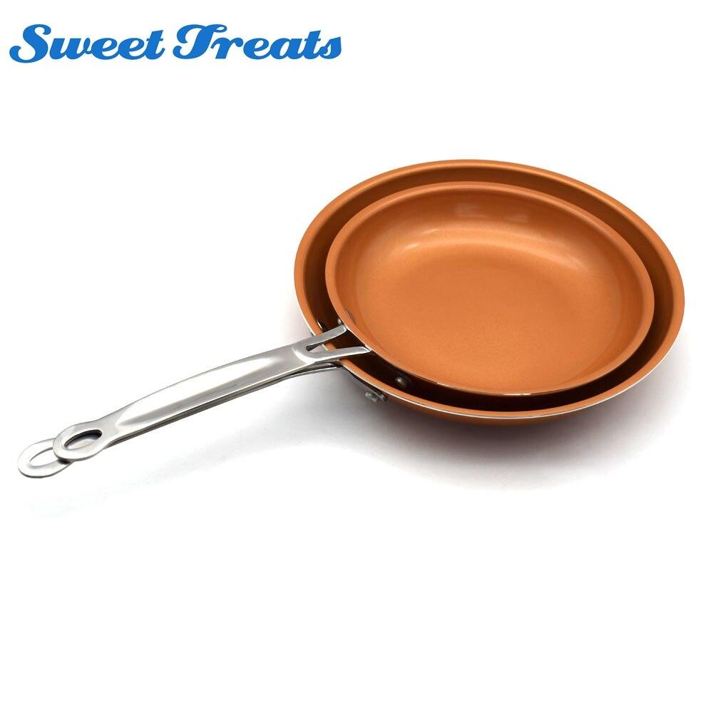 Sweettreats 1 set 8 + 10 אינץ שאינו מקל נחושת מחבת עם ציפוי קרמי בישול אינדוקציה, תנור ומדיח כלים בטוח