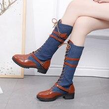 054dc6517e Big Size 2018 Women Knee High Boots Jeans Winter Autumn Boots Blue Black  Color High Boots