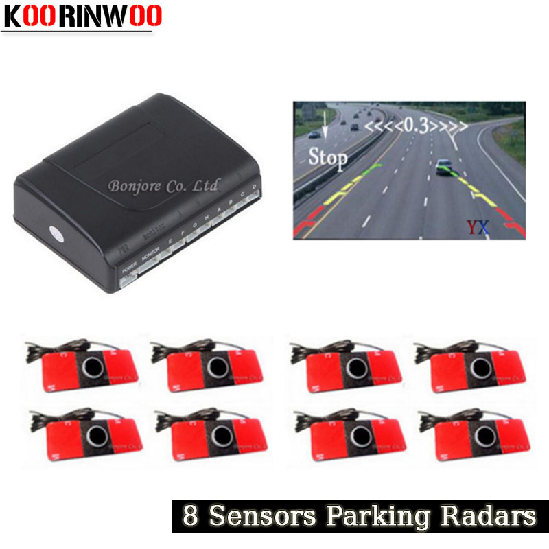 Koorinwoo Car Parking Sensors 8 Radars Original Video System Alarm Speaker Parking Assist Car Accessories Parktronic Detector koorinwoo car parking sensors 8 redars video system auto parking system bibi alarm sound alarm parking assistance parktronic