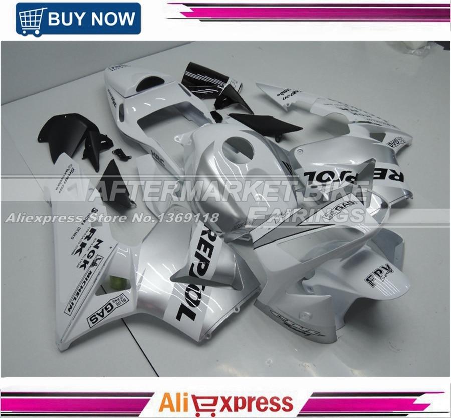 WHITE AND SILVER REPSOL Motorcycle Fairings For Honda CBR600RR 2003 2004 Full Set Kits fite for honda cbr 600rr cbr600rr 2003 2004 2005 2006 motorcycle adjustable folding extendable brake release lever logo repsol