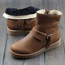 Women's Winter Boots 100% Genuine Leather Ladies Ankle Boots Plush Winter Shoes Slip Resistant Rubber Sole Female Footwear (3639