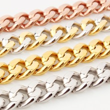 15mm 7-40 Hot Stainless Steel Link Silver/Gold/Rose Gold/Silver Gold Cuban Curb Chain Men's Boy's Necklace Or Bracelet Jewelry