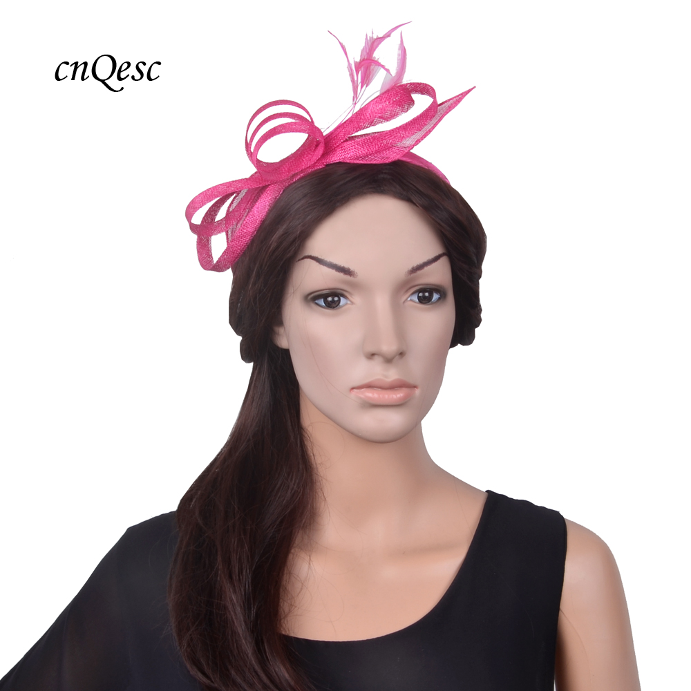 5e917f110cf NEW Fuchsia hot pink simple Sinamay ribbons feather headband fascinator  wedding hat for bridesmaid