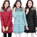 Envío libre Más tamaño wadded chaqueta femenina medio-largo mm 2017 engrosamiento invierno abajo de algodón acolchado chaqueta suelta prendas de vestir exteriores 4xl