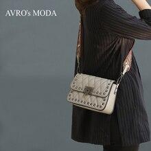 Бренд AVRO MODA, женские сумки через плечо из натуральной кожи, женские роскошные дизайнерские сумки через плечо с заклепками, маленькая квадратная сумка-мессенджер