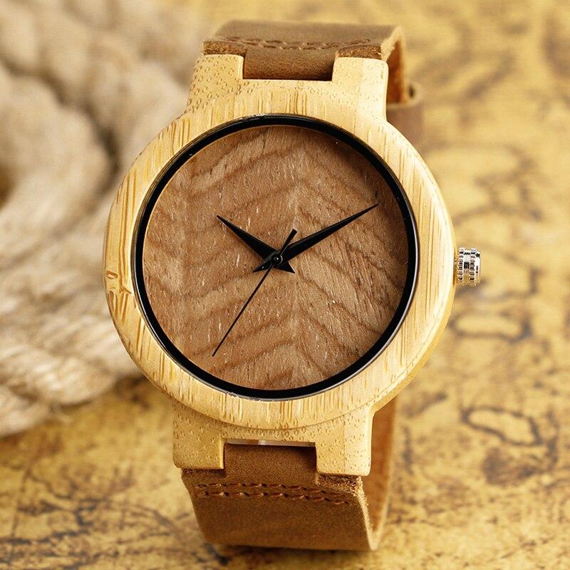 5d7bac8b Модные Роскошные Повседневное деревянный Часы из бамбука наручные часы с  Пояса из натуральной кожи группа для Для мужчин Для женщин Relojes де .