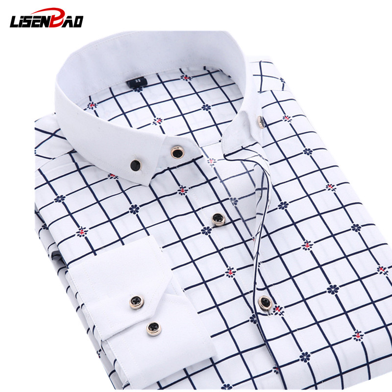 New 2018 Long Sleeve Solid Color dot printing Shirt Men Regular Fit Turn-down Collar Non Iron Business  Dress Shirts Work Wear