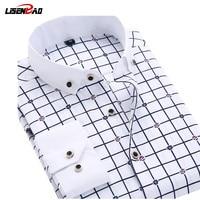 New 2015 Long Sleeve Solid Color Dot Printing Shirt Men Regular Fit Turn Down Collar Non