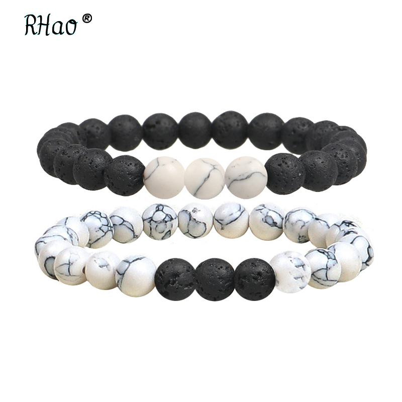 Hospitable Rhao Men Black Lava Natural Stones Jewelry White Beaded Strand Healing Balance Reiki Prayer Stones Bracelets For Women Bijoux 2019 Official Bracelets & Bangles