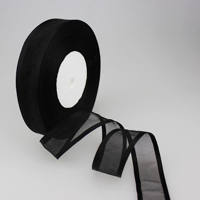 (50 ярдов/партия) 1′ (25 мм) Broadside черный органза ленты оптом/день рождения и рождественские подарки упаковка украшения ленты