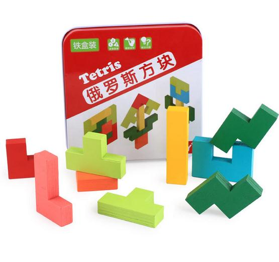 Baby Kids Wooden Tetris Game Educational Jigsaw Puzzle Toys Wood Tangram with Iron box Brain Teaser Puzzle Toy for Children