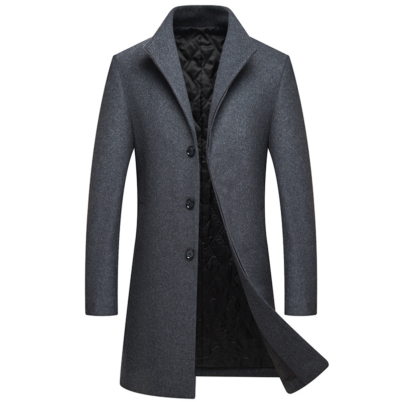 2019 Autumn Winter Men Casual Coat Thicken Woolen Trench Coat Business Casual Male Classic Overcoat Medium Long Jackets