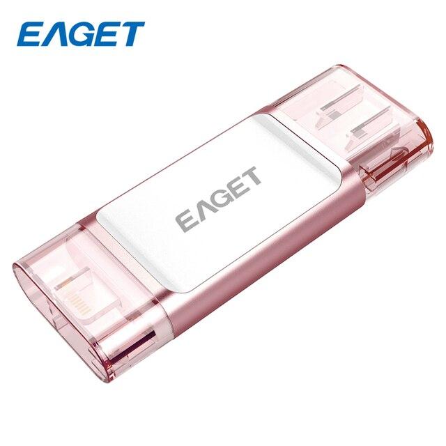 Eaget unidade flash usb pen drive 3.0 usb 3.0 ifm i60 pendrive de 32 gb 64 gb 128 gb para o iphone para ipad usb de armazenamento externo vara