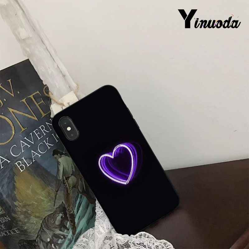 Yinuoda Nền Đen Huỳnh Quang Hoa Văn Nhỏ Phông Chữ Neon Mềm Coque Cho iPhone 5 5S SE 6 6 Plus 6 SPlus 7 8 plus X XS XR Xsmax