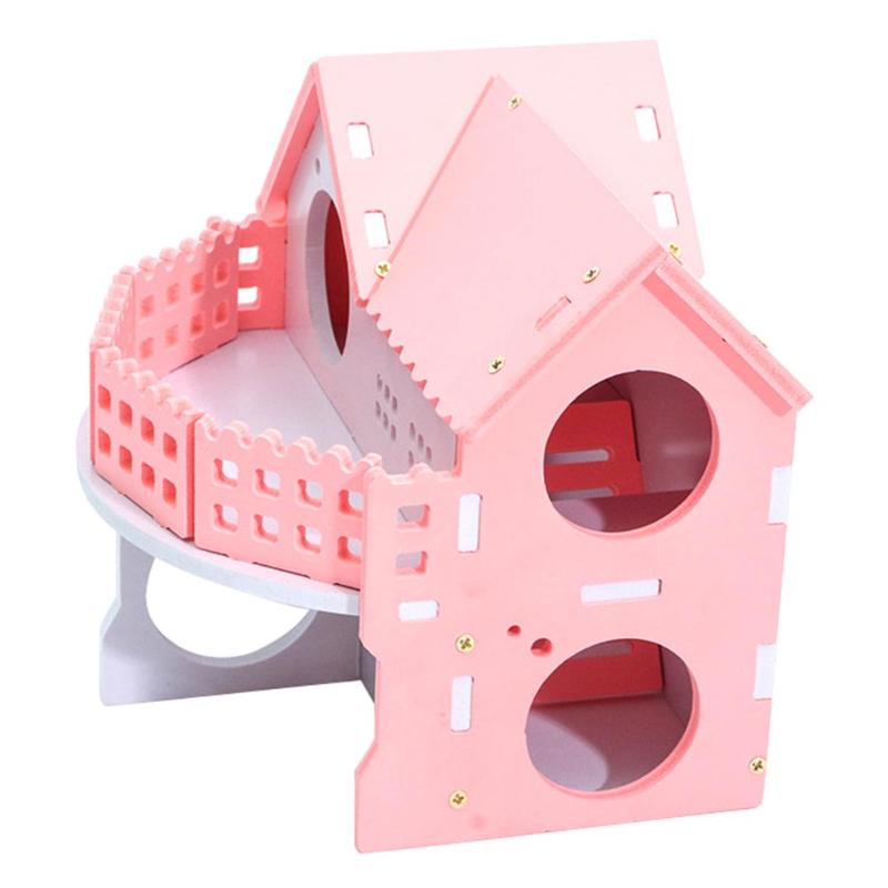 Pink Wooden Hamster House Net Ecological Ladder Villa Winter Warm Colorful Board Bed Small Animal BedPink Wooden Hamster House Net Ecological Ladder Villa Winter Warm Colorful Board Bed Small Animal Bed