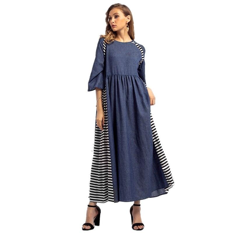 US $17.76 51% OFF|women long maxi dress plus size clothing summer casual  loose denim dress blue striped ladies dresses robe longue femme 83035-in ...
