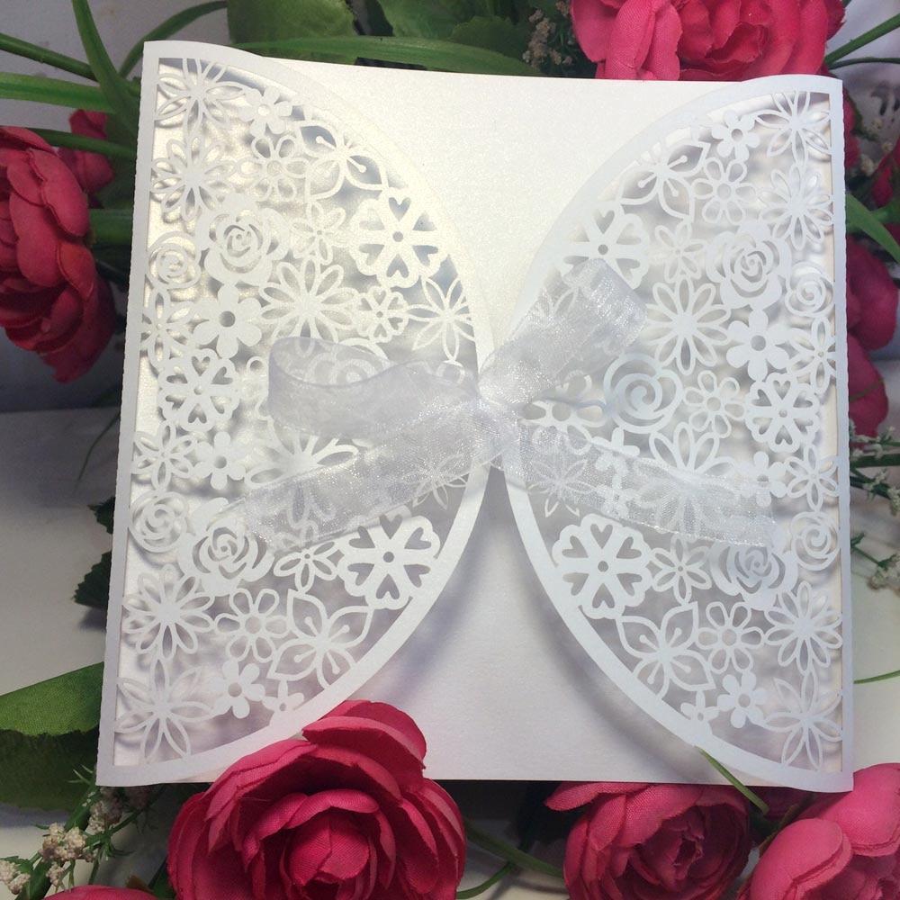 10Pcs/set Romantic Wedding Invitation Card Delicate Carved Flowers ...