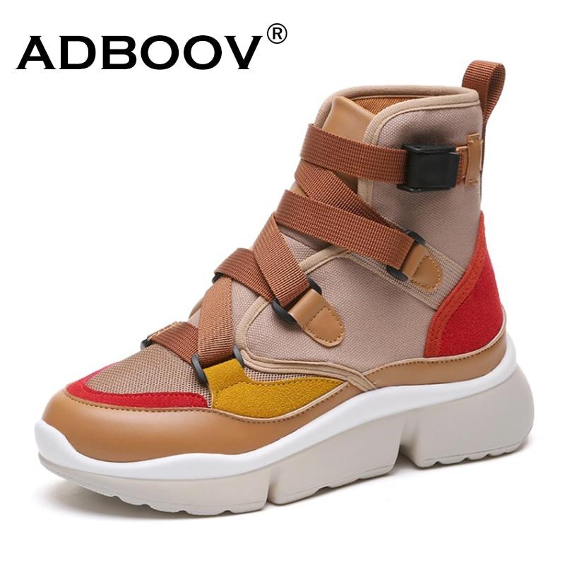 ADBOOV Herbst Neue High Top Sneakers Frauen PU Leder + Leinwand Schuhe Frau Schnalle Flache Plattform Wanderschuhe Zapatos De mujer