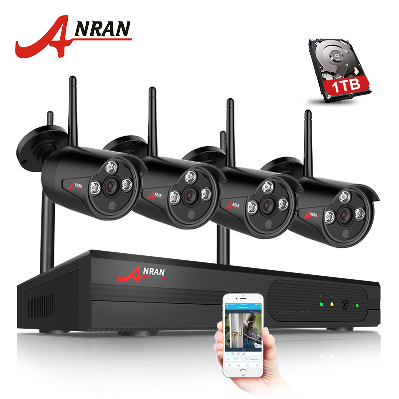 ANRAN Plug & Play 4CH Wireless NVR Kit P2P 720P HD Outdoor IP Video Security CCTV Camera Night Vision Wifi Surveillance System  anran plug and play 4ch security camera system wireless nvr kit p2p 720p hd outdoor ir night vision cctv ip camera system