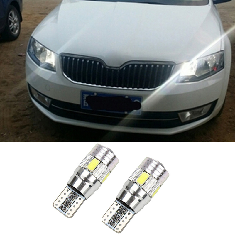 2x Canbus Error Free T10 W5W 6 LED 5630 SMD Car Clearance Parking Light Lamp For Skoda Superb Octavia A7 A5 2 Fabia Rapid Yeti