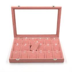 Бархатная коробка для хранения ювелирных изделий с Стекло крышка розовый цвет серьги Цепочки и ожерелья браслет кольцо хранения лоток и