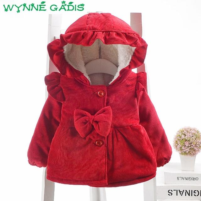 Baby Girls Corduroy Bow Hooded Thick Fleece Jacket Coat Princess Kids Infant Winter Casual Outerwear casaco roupas de bebe