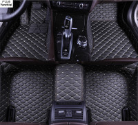 Upgrade leather car floor mats for Peugeot 3008 II 2017 2018 2019 Custom foot Pads automobile carpet