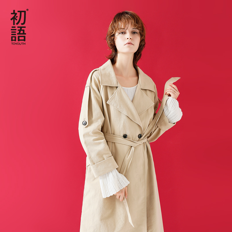 Toyouth Khaki Long   Trench   Coat for Women Adjustable Waist Slim Solid Winter Coats   Trench   Female All-Match Outerwear Windbreaker