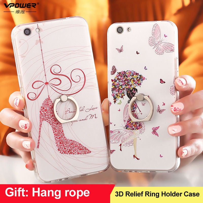 Silicone Holder Case Oppo r9s r9s Plus Vpower 3d Relief Pattern Cartoon Holder Back Soft Cover Case For Oppo r9s + Phone strap