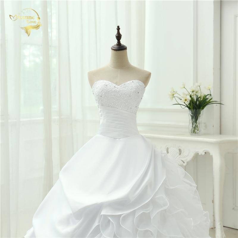 Classic Style Vestidos De Noiva A Line Robe De Mariage Strapless Applique Bridal Gown Wedding Dress 2018 Chapel Train YN0120 6