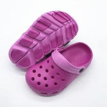 Летняя футболка для девочек, рисунок с героями мультфильма с рисунком «крокодил» сандалии для девочек Симпатичные; клоги; комнатные тапочки; для маленькой девочки EU30-35 US11-3 EU24-29; американские размеры 5-10