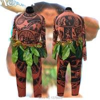 Movie Moana Maui Cosplay Full Set Fantasia Felpa Pantaloni Outfit Suit T Shirt Foglie Per Halloween Collant Tuta