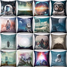Hongbo 1 Pcs Astronaut Star Geometric Cat Psttern Polyester Pillow Case Sofa Cushion Cover Decorative Decorations
