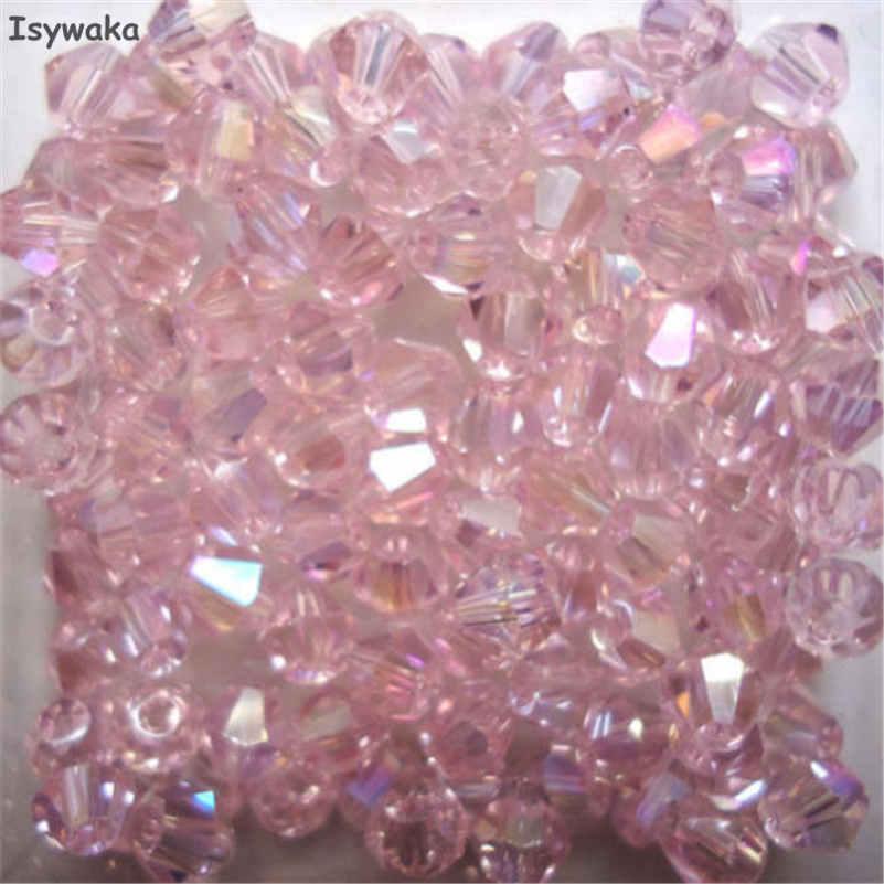 Isywaka распродажа Красный Медь Цвет 100 шт. 4 мм Bicone Австрия Кристалл бусины Шарм Стекло свободный разделитель Бисер бисера для DIY ювелирных изделий - Цвет: Pink