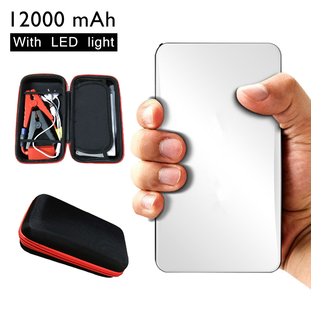 Batteries & Accessories: 12000mAh Mini Car Jump Starter Portable White Emergency Charger Battery Booster Power Bank for Car Mobile Tablet Camera CS009WH