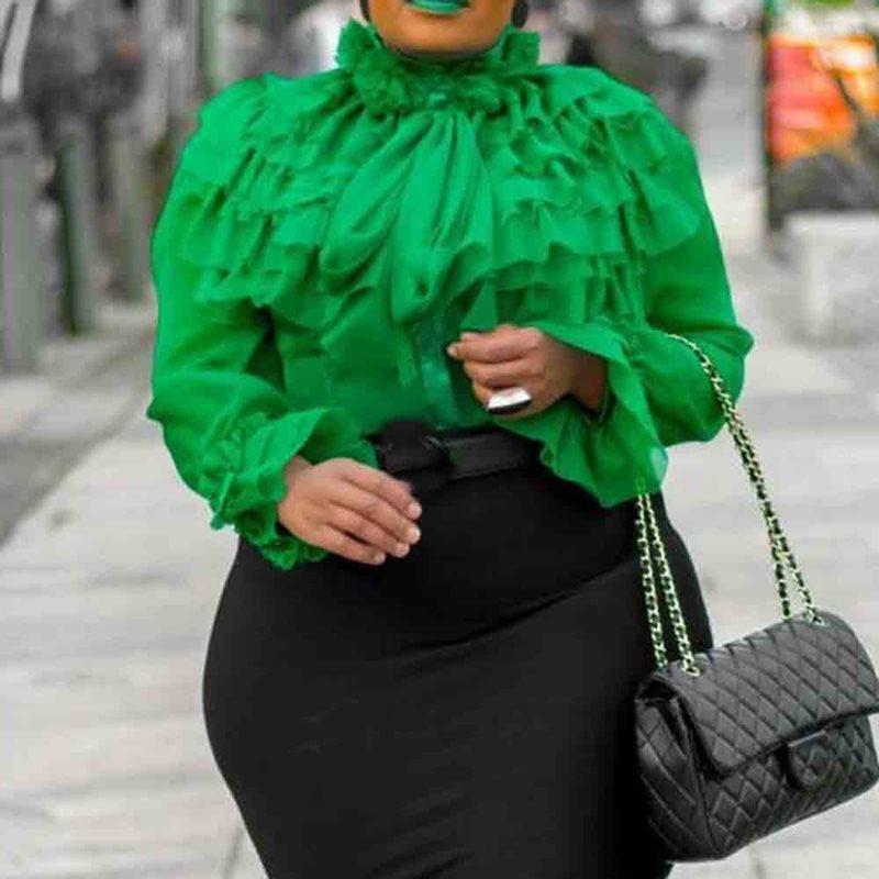 Falbala Plain Standard Long Sleeve Blouse Green Ruffles Sleeve Summer Elegant Women Tops Blouse 2019 Shirts Female