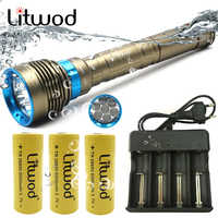 Litwod Z20 XHP70 Diving LED Flashlight Torch 7 Led 13000 lumens Super bright Swimming flashlight Waterproof Underwater 100m