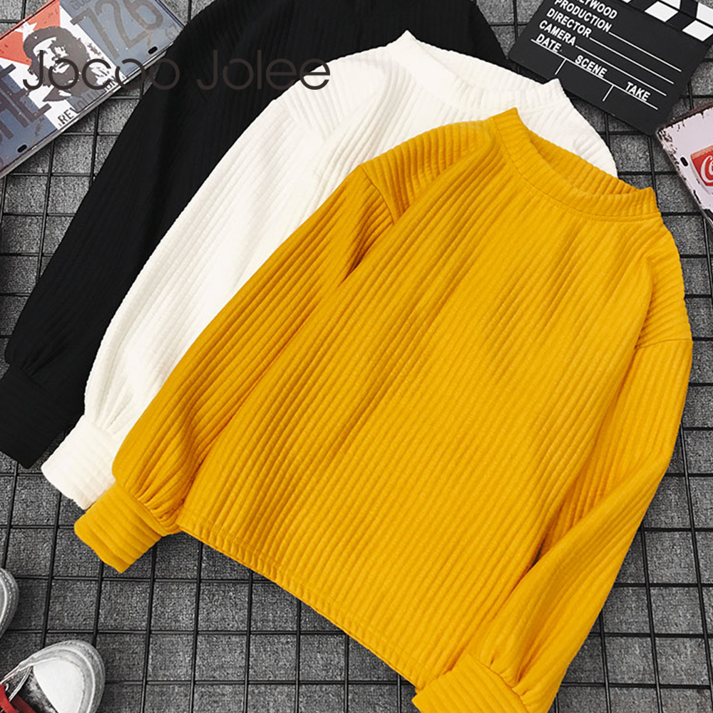 Jocoo Jolee Sweater Women 2019 Autumn Winter Solid Color Base Sweater Long Sleeve O Neck Loose Harajuku Slim Sweater Female Tops