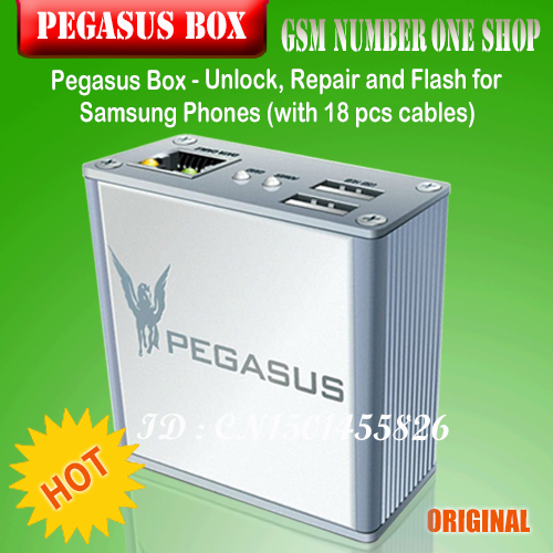 100% Original Newset Pegasus Box - Unlock, Repair And Flash For Samsung Phones/with 18 Cable + Free Shipping