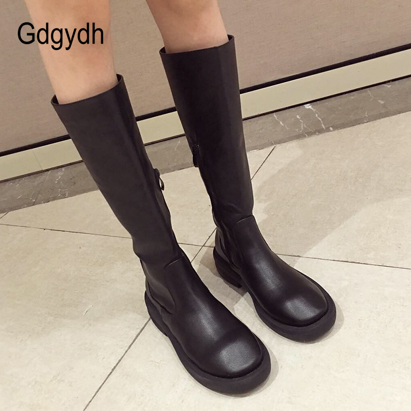 Gdgydh 2018 Black Platform Boots Female High Heels PU Leather Shoes Women Winter Knee High Boots Zip Warm Woman Shoes Promotion memunia big size 34 43 over the knee boots for women fashion shoes woman party pu platform boots zip high heels boots female