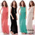 Plus Size Fashion Korean New Spring Summer 2014 Women Long Sleeveless Elegant Dresses Beach Elastic Waist Bohemia Chiffon Dress