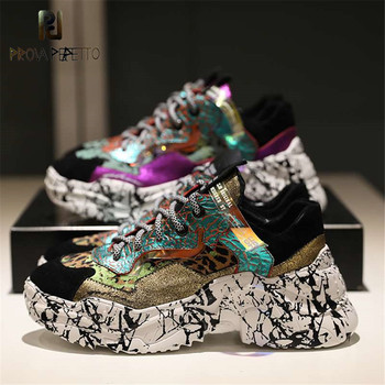 Prova Perfetto 2019 Sneakers Women Trendy Chunky Dad Shoe Laces Platform Shoes New Color Matching Camouflage Sneakers Chaussures 1